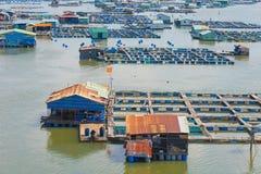 许多鱼繁殖的农场,越南 免版税库存照片