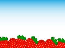 许多鲜美甜草莓美妙的轻的背景  皇族释放例证