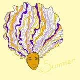 许多头发夏天女孩 库存照片