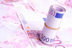 许多500个票据的欧元货币 免版税库存图片