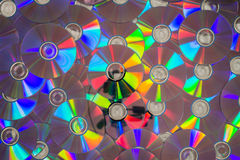 许多CDs放置了形成层数的舱内甲板 免版税库存图片