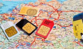 许多sim卡片 免版税库存照片