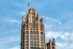 论坛塔是一个新哥特式摩天大楼435北部密执安大道位于芝加哥 图库摄影