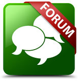 论坛评论象绿色方形的按钮 免版税库存图片