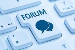 论坛通信社区互联网博克蓝色媒介的讨论 库存照片