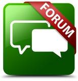 论坛绿色方形的按钮 免版税库存图片