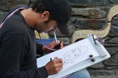 讽刺画艺术-街道式讽刺画 库存照片