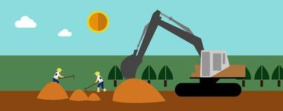 建设中,平的例证 免版税库存图片