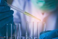 设备和科学实验上油有tes的倾吐的科学家 免版税库存图片