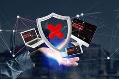 设备围拢的被乱砍的盾被显示的标志和网络 免版税图库摄影