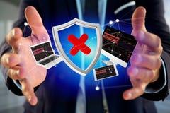 设备围拢的被乱砍的盾被显示的标志和网络 库存图片