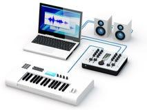 设备家庭录音室 免版税图库摄影