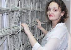 设备电信妇女工作 图库摄影