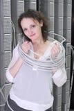 设备电信妇女工作 免版税库存图片