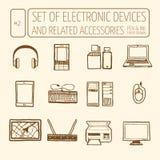 设备电子集 免版税库存图片
