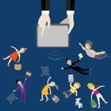 从设备的手吸引青年人,买家 到达天空的企业概念金黄回归键所有权 免版税库存照片