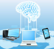 设备被连接到中央脑子 图库摄影