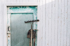 设备从事园艺的室外夏天工作 免版税库存照片