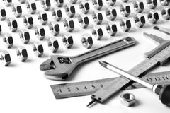 设备fow扳手工具工作 免版税图库摄影