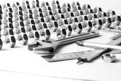 设备fow扳手工具工作 免版税库存照片