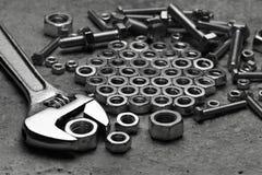设备fow扳手工具工作 库存图片