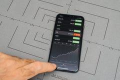 设定在iPhone x 10个app应用软件股市面孔 免版税库存图片