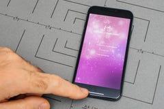 设定在iPhone x 10个app应用软件adopteunmec, 免版税库存图片