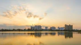 建设河镇的照片在乌隆他尼,泰国 免版税图库摄影