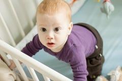 设法可爱的婴孩的顶视图站起来在他的轻便小床 免版税库存照片
