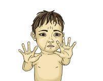 设法害怕的小男孩掩藏提出她的手 免版税库存照片