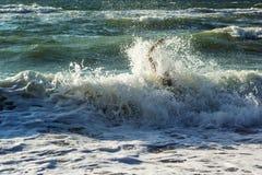 设法淹没人的手游泳在风雨如磐的海洋外面 淹没需要帮助的受害者,请求帮忙 失败和抢救co 库存图片