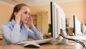 设法被集中的女实业家在办公室解决在线的一项困难的任务在一台台式计算机 免版税库存图片