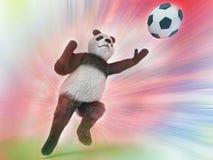 设法迅速的跃迁的野生熊猫守门员拿到在被弄脏的五颜六色的水彩背景的一个足球 挺直字符B 库存图片