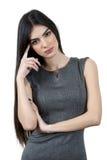设法年轻的女商人认为 免版税库存图片