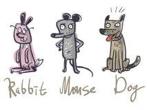 设置三个动物 兔子、老鼠和狗 库存照片