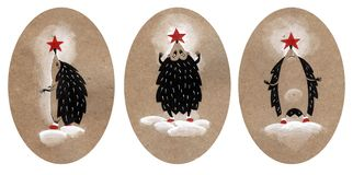 设置三圣诞节例证,猬装饰象圣诞树 在工艺纸的手拉的例证 图库摄影