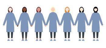 设置不同的种族妇女 逗人喜爱和简单的现代平的样式 向量例证
