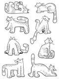 设置与乱画猫 与家养的宠物的汇集在incomlete 免版税库存照片