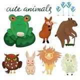 设置与卡片、海报、贴纸和其他传染媒介图象的逗人喜爱的动物 向量例证
