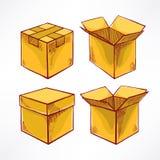 设置与四个手拉的箱子 皇族释放例证