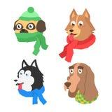 设置与围巾的动画片平的狗 免版税库存照片