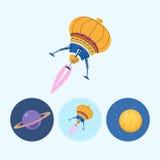 设置与土星,太空飞船,月亮,传染媒介例证的象 库存照片