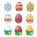 设置与在白色背景隔绝的样式的五颜六色的复活节彩蛋 传染媒介动画片特写镜头例证 图库摄影