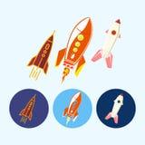 设置与太空飞船,火箭,传染媒介例证的象 库存照片