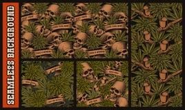 设置与头骨和大麻的无缝的样式 皇族释放例证