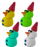 设置与帽子的雪人在白色 库存图片