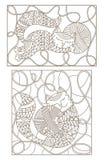 设置与彩色玻璃的等高例证与拥抱螺纹的丝球逗人喜爱的猫的 皇族释放例证