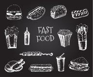 设置与快餐手拉的例证 剪影传染媒介例证 快餐餐馆,快餐菜单 汉堡包,热狗, 图库摄影