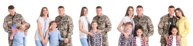 设置与战士和他的家庭在白色背景 图库摄影