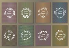 设置与手拉的墨水草本框架的葡萄酒海报 库存照片